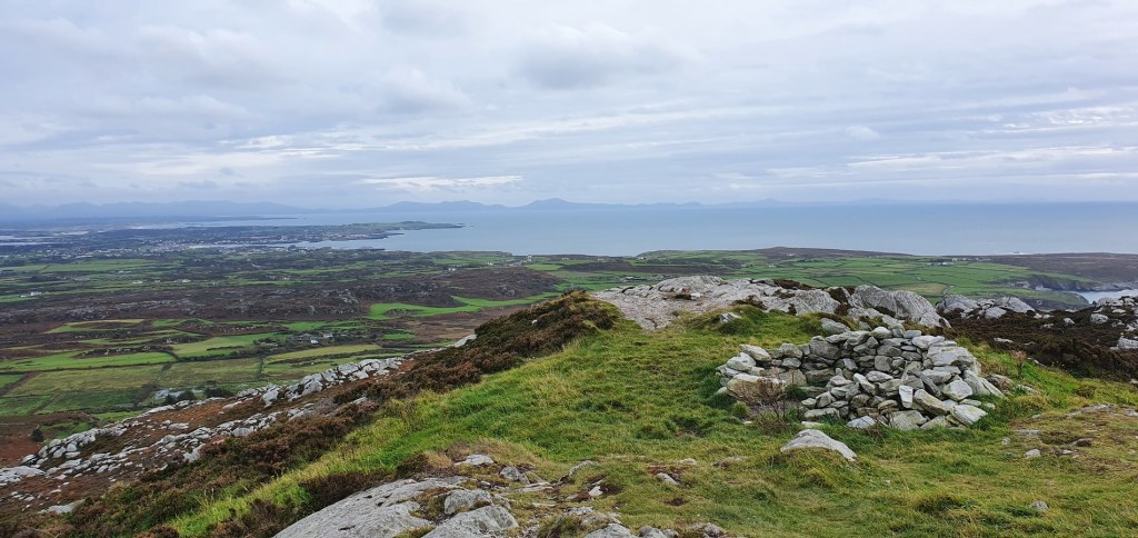 View over to the south-west of Anglesey & the Llyn Peninsula in the far distance
